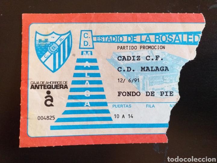 ENTRADA TICKET MALAGA CADIZ 90 91 PROMOCION (Coleccionismo Deportivo - Documentos de Deportes - Entradas de Fútbol)