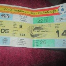 Coleccionismo deportivo: ENTRADA FUTBOL COPA MUNDIAL FIFA ESPAÑA 82 EN ELCHE ALICANTE Nº 174 - NUEVO ESTADIO 1º FASE. Lote 206190568
