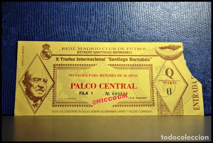 ENTRADA TICKET PASE REAL MADRID VS AC MILAN 10º TROFEO SANTIAGO BERNABEU 01- 09 -1988 (Coleccionismo Deportivo - Documentos de Deportes - Entradas de Fútbol)