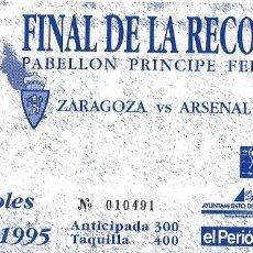 Coleccionismo deportivo: FINAL RECOPA - ZARAGOZA ARSENAL - PRÍNCIPE FELIPE - 1995. Lote 206580538