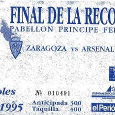 Collectionnisme sportif: FINAL RECOPA - ZARAGOZA ARSENAL - PRÍNCIPE FELIPE - 1995. Lote 206580538