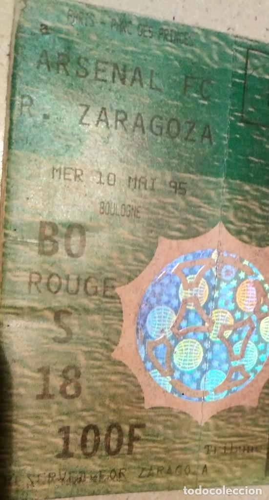 Coleccionismo deportivo: ENTRADA SIN CORTAR final RECOPA 1995 Arsenal - Real Zaragoza - Foto 4 - 206839591