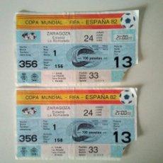 Coleccionismo deportivo: MUNDIAL ESPAÑA 82. ENTRADA ZARAGOZA, HONDURAS – YUGOSLAVIA. 2 ENTRADAS.. Lote 207168366