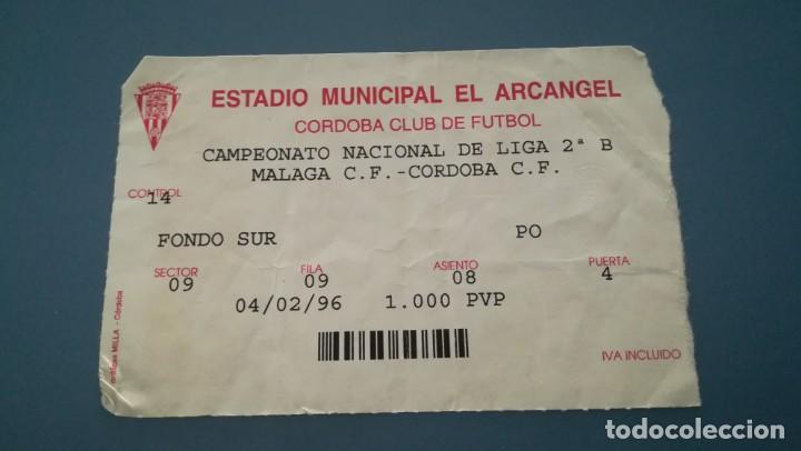 ENTRADA FUTBOL CÓRDOBA MÁLAGA 1995 1996 EL ARCÁNGEL TICKET FOOTBALL (Coleccionismo Deportivo - Documentos de Deportes - Entradas de Fútbol)