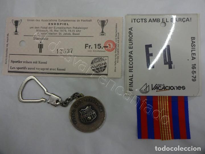 BARÇA. FINAL DE BASILEA. RECOPA 1979. BARCELONA 4 - FORTUNA 3. LOTE ENTRADA+ESCARAPELA+LLAVERO (Coleccionismo Deportivo - Documentos de Deportes - Entradas de Fútbol)