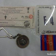 Coleccionismo deportivo: BARÇA. FINAL DE BASILEA. RECOPA 1979. BARCELONA 4 - FORTUNA 3. LOTE ENTRADA+ESCARAPELA+LLAVERO. Lote 208362230