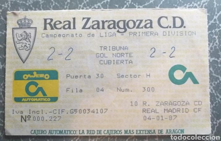 ENTRADA TICKET FUTBOL ZARAGOZA REAL MADRID 86 87 (Coleccionismo Deportivo - Documentos de Deportes - Entradas de Fútbol)