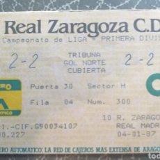 Coleccionismo deportivo: ENTRADA TICKET FUTBOL ZARAGOZA REAL MADRID 86 87. Lote 209912116
