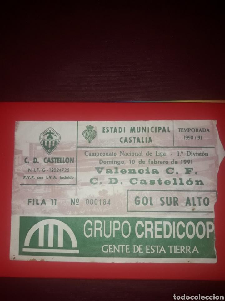 ENTRADA CASTALIA TEMPORADA 90-91,VALENCIA CF-CD CASTELLON (Coleccionismo Deportivo - Documentos de Deportes - Entradas de Fútbol)