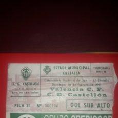 Coleccionismo deportivo: ENTRADA CASTALIA TEMPORADA 90-91,VALENCIA CF-CD CASTELLON. Lote 210937202