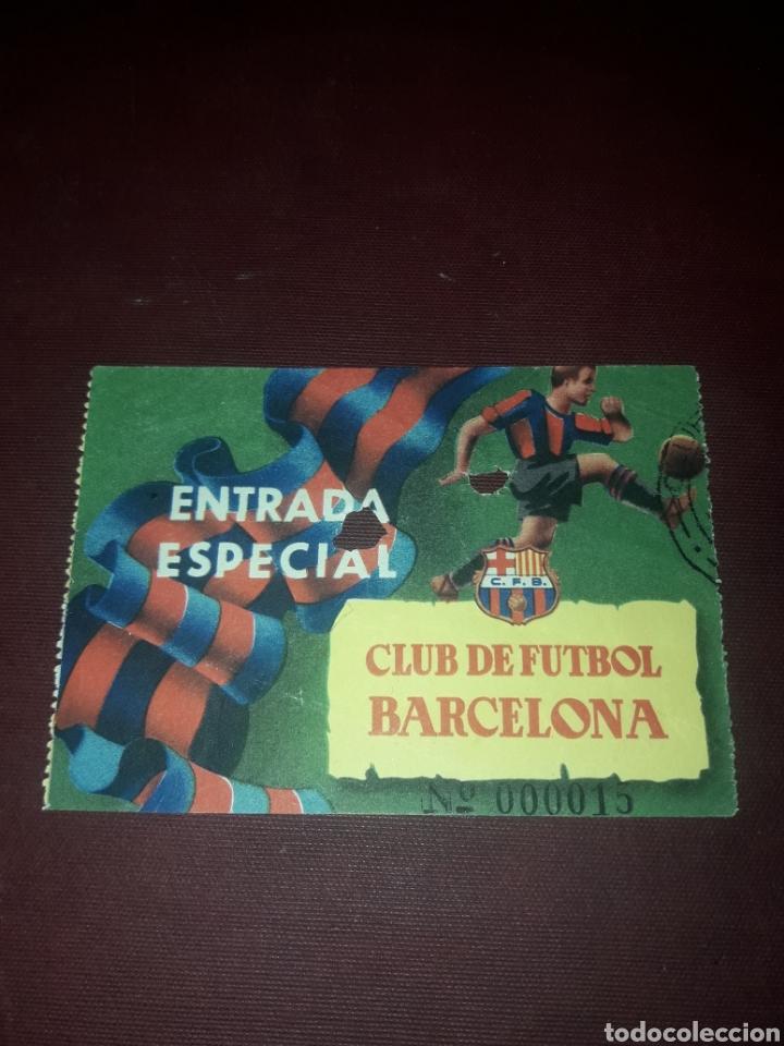 ENTRADA ESPECIAL CLUB DE FÚTBOL BARCELONA AÑO 54-55 (Coleccionismo Deportivo - Documentos de Deportes - Entradas de Fútbol)