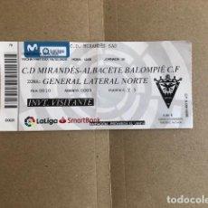 Coleccionismo deportivo: ENTRADA TIKET C.D.MIRANDES ALBACETE BALOMPIE 2020. Lote 211420155