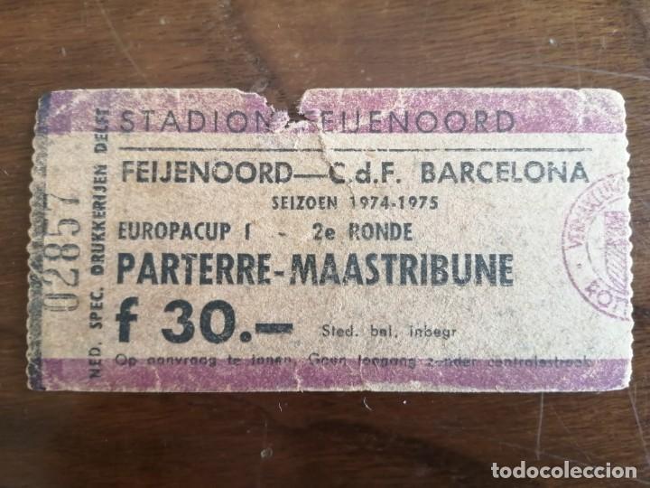 ENTRADA FEYENOORD V BARCELONA 1974 COPA CAMPEONES EUROPA (Coleccionismo Deportivo - Documentos de Deportes - Entradas de Fútbol)