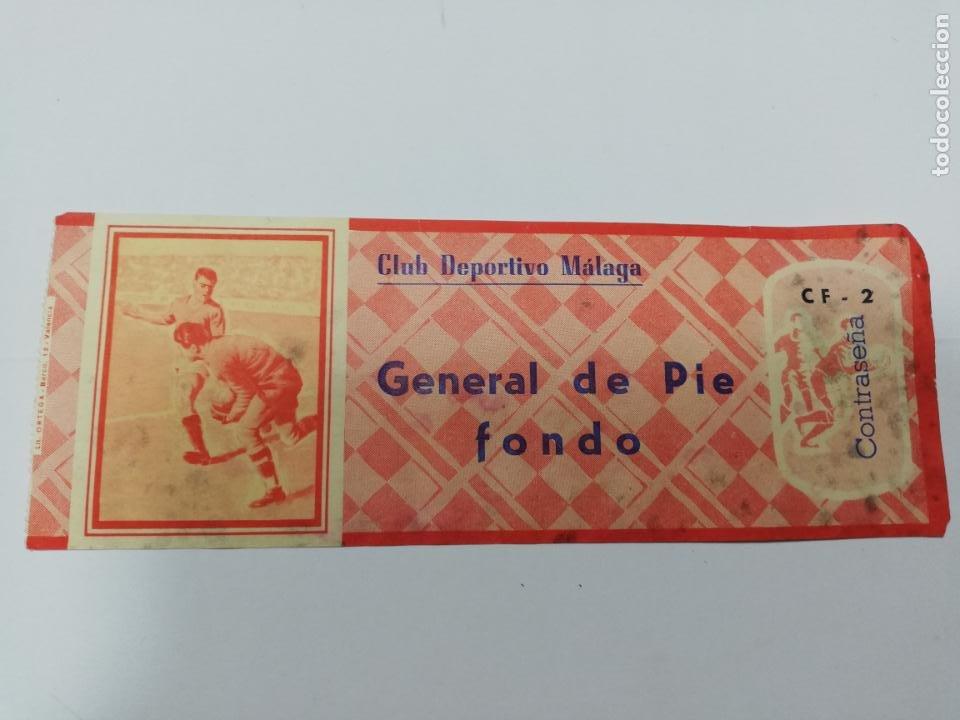 ENTRADA DE FUTBOL. CLUB DEPORTIVO MALAGA. GENERAL DE PIE FONDO. (Coleccionismo Deportivo - Documentos de Deportes - Entradas de Fútbol)