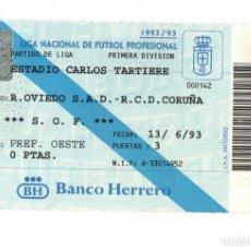 Coleccionismo deportivo: ENTRADA, FUTBOL, R. OVIEDO, RCD CORUÑA, ESTADIO CARLOS TARTIERE, 1992/93. Lote 211870471
