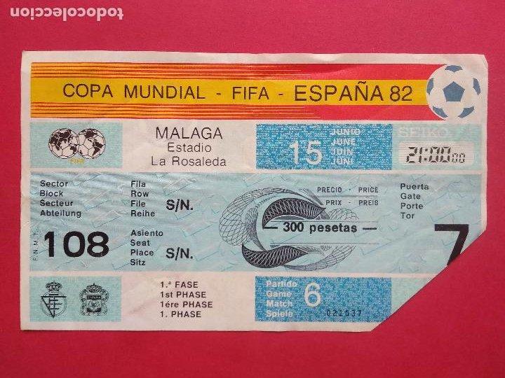 ENTRADA DE FUTBOL ESTADIO LA ROSALEDA MALAGA AÑO 1982 COPA MUNDIAL FIFA ESPAÑA 82 , 15 JUNIO (Coleccionismo Deportivo - Documentos de Deportes - Entradas de Fútbol)