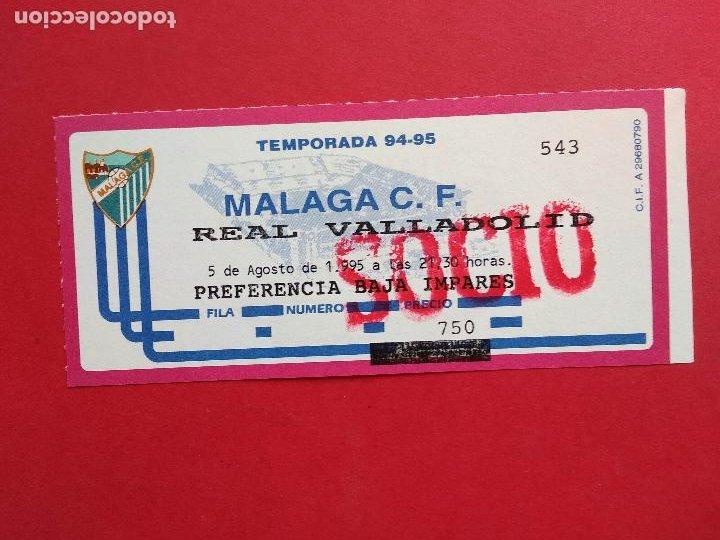 ENTRADA DE FUTBOL ESTADIO LA ROSALEDA TEMPORADA 94 95 1994 1995 MALAGA CF - REAL VALLADOLID (Coleccionismo Deportivo - Documentos de Deportes - Entradas de Fútbol)