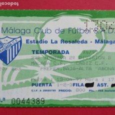 Coleccionismo deportivo: ENTRADA DE FUTBOL ESTADIO LA ROSALEDA TEMPORADA 96 97 1996 1997 MALAGA CF - CADIZ CF. Lote 213646093
