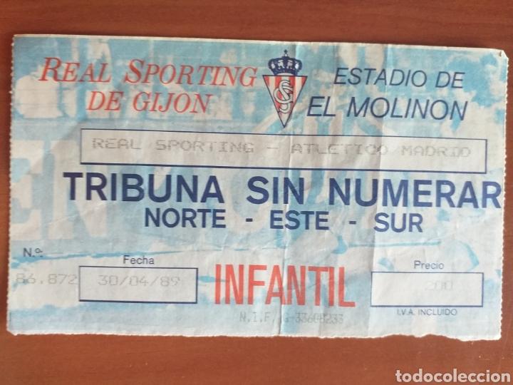 ENTRADA TICKET SPORTING GIJON ATLETICO MADRID 89 90 (Coleccionismo Deportivo - Documentos de Deportes - Entradas de Fútbol)