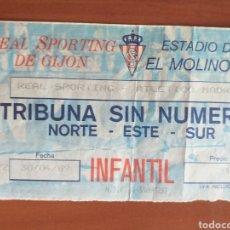Coleccionismo deportivo: ENTRADA TICKET SPORTING GIJON ATLETICO MADRID 89 90. Lote 214255192