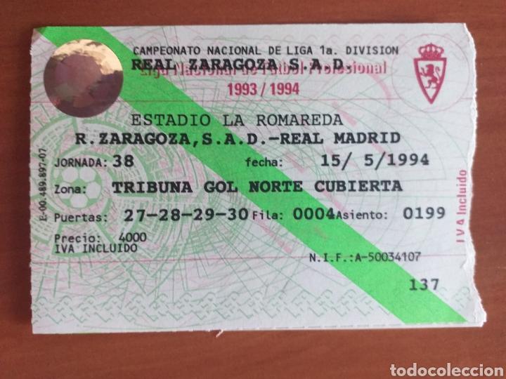 ENTRADA ZARAGOZA REAL MADRID 93 94 (Coleccionismo Deportivo - Documentos de Deportes - Entradas de Fútbol)