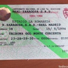 Coleccionismo deportivo: ENTRADA ZARAGOZA REAL MADRID 93 94. Lote 214255296