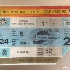 Coleccionismo deportivo: J6 ENTRADA FUTBOL MUNDIAL ESPAÑA 1982 FINAL ITALIA 3 ALEMANIA 1, MADRID SANTIAGO BERNABEU 11 JULIO. Lote 217629432