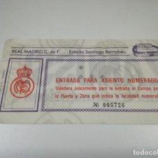 Coleccionismo deportivo: ENTRADA PARTIDO DEL REAL MADRID EN EL SANTIAGO BERNABEU. TEMPORADA 84/85.. Lote 220098968