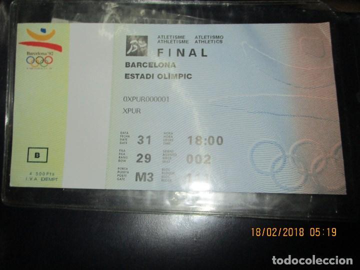 ENTRADA BARCELONA 1992 ESTADI OLIMPIC FINAL ATLETISMO (Coleccionismo Deportivo - Documentos de Deportes - Entradas de Fútbol)