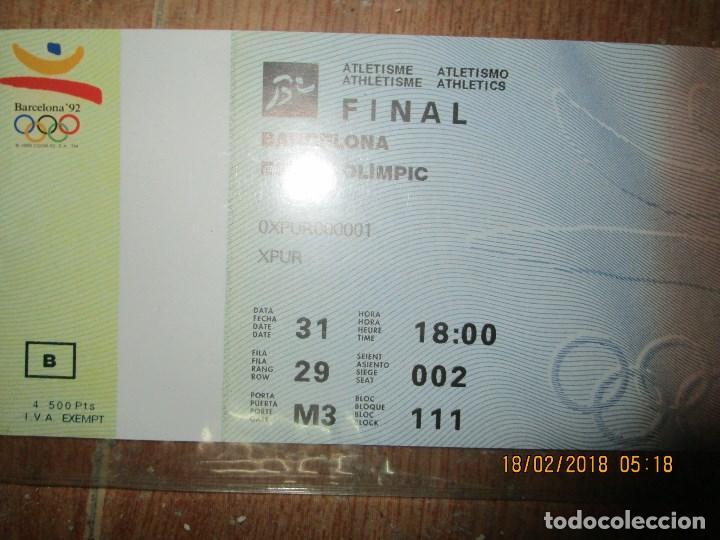 Coleccionismo deportivo: ENTRADA BARCELONA 1992 ESTADI OLIMPIC FINAL ATLETISMO - Foto 3 - 220802691