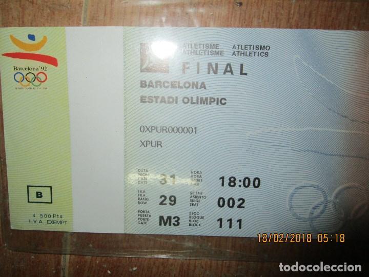 Coleccionismo deportivo: ENTRADA BARCELONA 1992 ESTADI OLIMPIC FINAL ATLETISMO - Foto 4 - 220802691