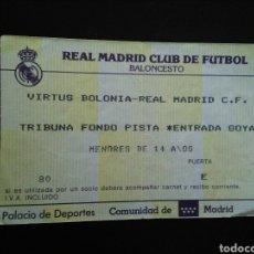 Coleccionismo deportivo: ENTRADA BALONCESTO REAL MADRID VIRTUS BOLONIA. Lote 220969462