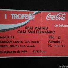 Coleccionismo deportivo: ENTRADA BALONCESTO REAL MADRID CAJA SAN FERNANDO. Lote 220970510