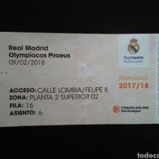 Coleccionismo deportivo: ENTRADA BALONCESTO REAL MADRID OLYMPIACOS 2018. Lote 220971360