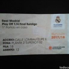 Coleccionismo deportivo: ENTRADA BALONCESTO REAL MADRID PANATHINAICOS 2018. Lote 220971770