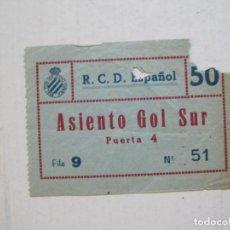 Coleccionismo deportivo: RCD ESPAÑOL-R.C.D. ESPANYOL-ENTRADA DE FUTBOL-ASIENTO GOL SUR-VER FOTOS-(74.898). Lote 221710411