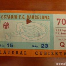 Coleccionismo deportivo: FUTBOL CLUB BARCELONA REAL CLUB DEPORTIVO ESPAÑOL ENTRADA ORIGINAL TEMPORADA 1981 82 RESULTADO 1-3. Lote 222007578
