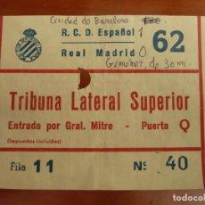 Coleccionismo deportivo: REAL CLUB DEPORTIVO ESPAÑOL REAL MADRID ENTRADA ORIGINAL ANTIGUA TEMPORADA 1985 86. Lote 222008706
