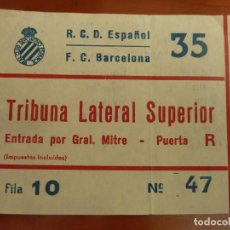 Coleccionismo deportivo: REAL CLUB DEPORTIVO ESPAÑOL BARCELONA ENTRADA ORIGINAL ANTIGUA TEMPORADA 1985 86 RESULTADO 5-3. Lote 222008772
