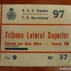 Coleccionismo deportivo: REAL CLUB DEPORTIVO ESPAÑOL BARCELONA ENTRADA ORIGINAL ANTIGUA TEMPORADA 1986 87 RESULTADO 1-1. Lote 222008950