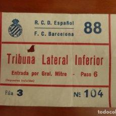 Coleccionismo deportivo: REAL CLUB DEPORTIVO ESPAÑOL BARCELONA ENTRADA ORIGINAL ANTIGUA TEMPORADA 1986 87 RESULTADO 0-0. Lote 222009138