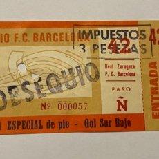 Coleccionismo deportivo: ENTRADA FC BARCELONA - REAL ZARAGOZA LIGA 1976-77 ENTERA CON MATRIZ. Lote 222556641