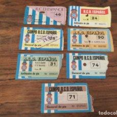 Coleccionismo deportivo: LOTE ENTRADAS FUTBOL ESTADI DE SARRIA. R C D ESPAÑOL ESPANYOL DOS CONTRA EL F.C BARCELONA. Lote 222559015