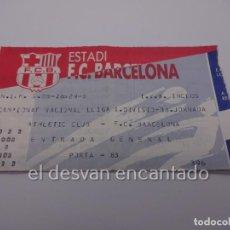 Coleccionismo deportivo: FC BARCELONA. ENTRADA PARTIDO LIGA ATHLETIC BILBAO-FC BARCELONA. Lote 222627517