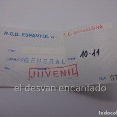 Coleccionismo deportivo: RCD ESPANYOL-FC BARCELONA. ENTRADA GENERAL PARTIDO LIGA. ASIENTO JUVENIL.. Lote 222628357