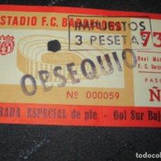Collectionnisme sportif: ANTIGUA ENTRADA ESTADIO FUTBOL F.C. BARCELONA REAL MADRID OBSEQUIO BARÇA. Lote 223337197