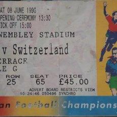 Coleccionismo deportivo: ENTRADA EUROCOPA 1996 INGLATERRA VS SUIZA. ENGLAND V SWITZERLAND. Lote 226269660
