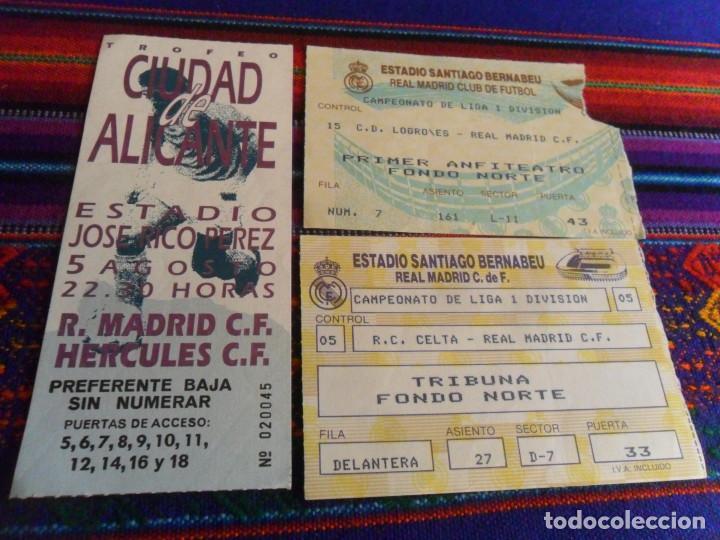 JOSÉ RICO PÉREZ ENTRADA TROFEO CIUDAD DE ALICANTE REAL MADRID HÉRCULES Y CELTA VIGO Y C.D. LOGROÑÉS. (Coleccionismo Deportivo - Documentos de Deportes - Entradas de Fútbol)