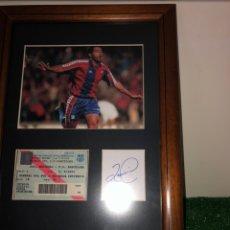 Coleccionismo deportivo: ROMARIO DEBUT FC BARCELONA AUTOGRAFO Y ENTRADA ORIGINAL 5/9/1993. Lote 228559146