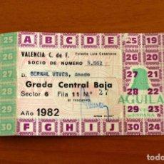 Collectionnisme sportif: VALENCIA - PASE ANUAL ENTRADA AL CAMPO, ESTADIO LUIS CASANOVA, AÑO 1982, 82 - SOCIO 5562. Lote 229143415